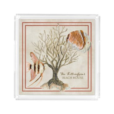 Beach Themed Fan Coral Ocean Beach Angel Tropical Fish Brown Acrylic Tray