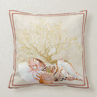 Fan Coral Ocean Beach Nautilus Conch Sea Shell Throw Pillow
