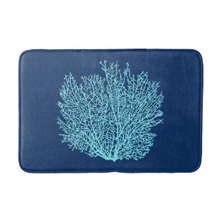 Fan Coral Print, Aqua on Deep Cobalt Blue Bathroom Mat