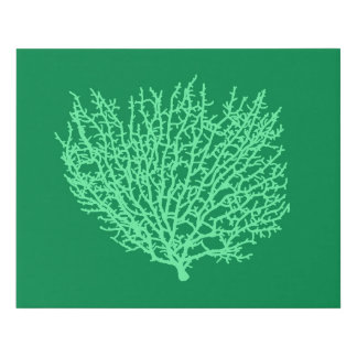 Fan Coral Print, Pale Green on Deep Jade  Green Faux Canvas Print
