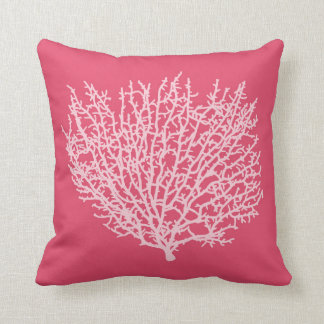 Fan Coral Print, Pale Pink on Deep Coral  Pink Throw Pillow
