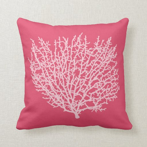 fan coral print pale pink on deep coral pink throw pillow zazzle. Black Bedroom Furniture Sets. Home Design Ideas