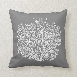 Fan Coral Print, Pale Silver on Medium Gray / Grey Throw Pillow