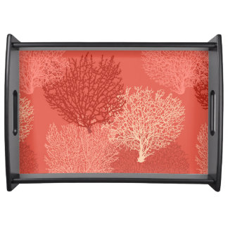Fan Coral Print, Shades of Coral Orange Serving Tray