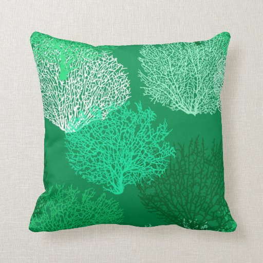 Jade Green Throw Pillow : Fan Coral Print, Shades of Jade Green Throw Pillow Zazzle