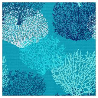 Fan Coral Print, Turquoise, Aqua and Cobalt Blue Fabric