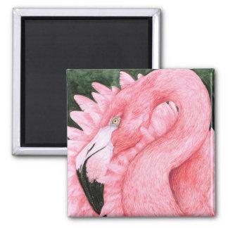 Fan Dancer - Flamingo 2 Inch Square Magnet