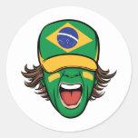 Fan de deportes brasileña pegatinas redondas