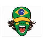 Fan de deportes brasileña postal