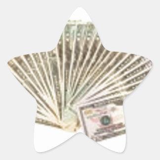 Fan de dólares calcomanías forma de estrella personalizadas