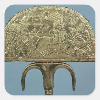 fan de la Avestruz-pluma de la tumba de Pegatina Cuadrada
