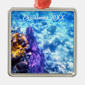 Fan de mar púrpura anticuada adorno cuadrado plateado