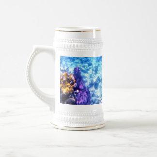 Fan de mar púrpura jarra de cerveza