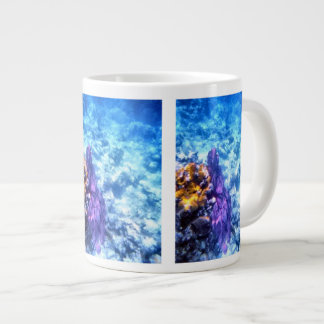 Fan de mar púrpura taza de café grande