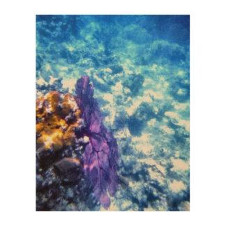 Fan de mar púrpura impresiones en madera