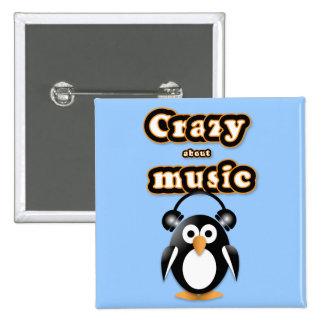 Fan de música del pingüino pin cuadrada 5 cm