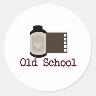 Fan de película de la escuela vieja etiquetas redondas
