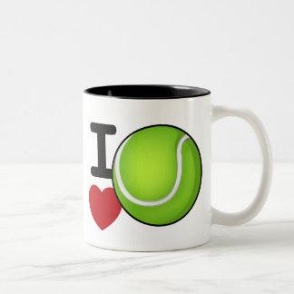 Fan de tenis del amor del tenis taza de café de dos colores