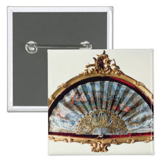 Fan, decorated with a scene of a fete pinback button