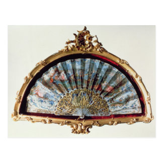 Fan, decorated with a scene of a fete postcard