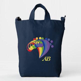 Fan del arco iris del Clef bajo con el monograma Bolsa De Lona Duck