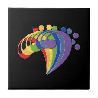 Fan del arco iris del Clef bajo en negro Azulejo Cuadrado Pequeño