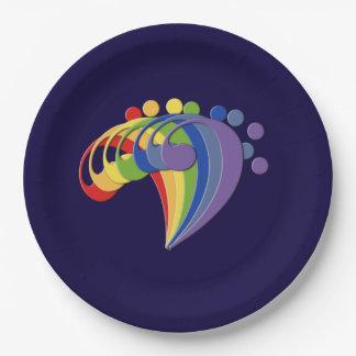 Fan del arco iris del Clef bajo Platos De Papel