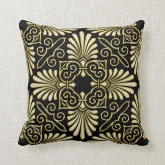 Fan del art déco del damasco del negro del oro del cojín decorativo