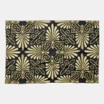 Fan del art déco del damasco del negro del oro del toallas de cocina