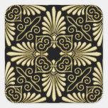 Fan del art déco del damasco del negro del oro del calcomanía cuadrada personalizada