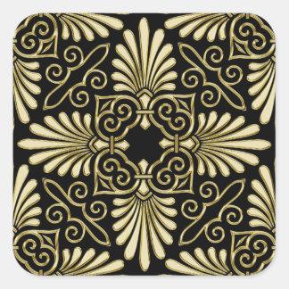 Fan del art déco del damasco del negro del oro del pegatina cuadrada