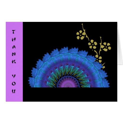 Fan del fractal y flores de papel quemados tarjeta de felicitación