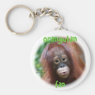 Fan del orangután llavero redondo tipo pin