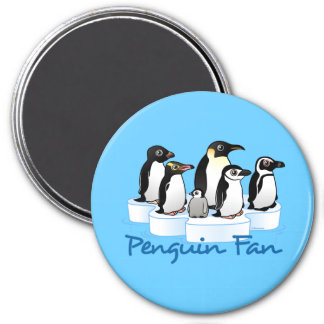 Fan del pingüino imán redondo 7 cm