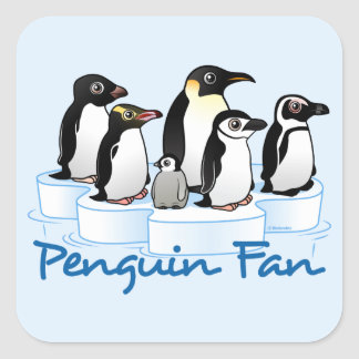 Fan del pingüino calcomanía cuadradas personalizadas