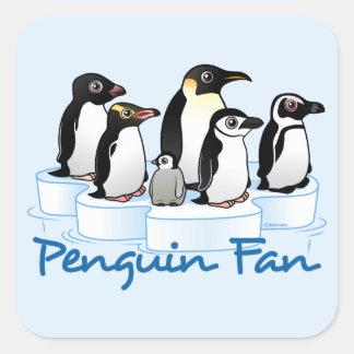 Fan del pingüino pegatina cuadrada