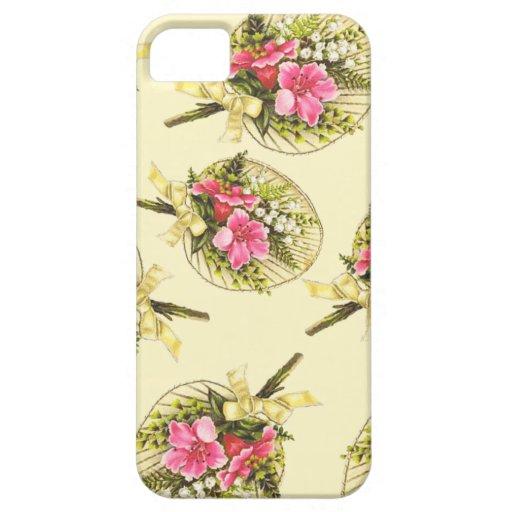 Fan del vintage de las señoras con floral iPhone 5 funda