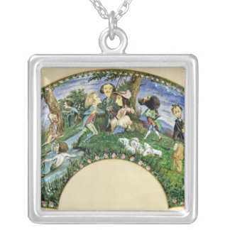 Fan depicting George Sand  and her friends Silver Plated Necklace