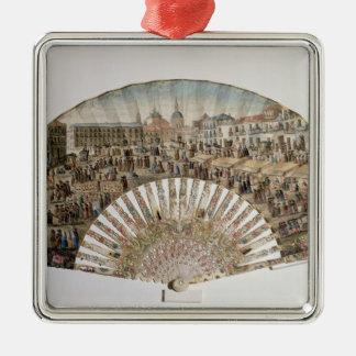 Fan depicting the Plaza de la Cebada, Madrid Square Metal Christmas Ornament