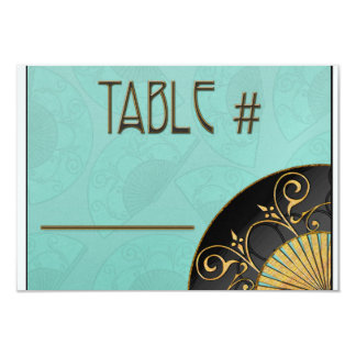 Fan Elegant (Blue) Table Numbers Card