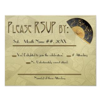 Fan Elegant (Moss) - Personalized RSVP Card