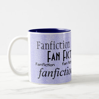 """Fan Fiction Fanatic"" - Blue/White Two-Tone Coffee Mug"