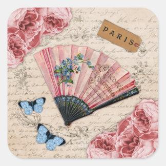 Fan francesa rosada del vintage pegatina cuadrada
