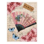 Fan francesa rosada del vintage postal