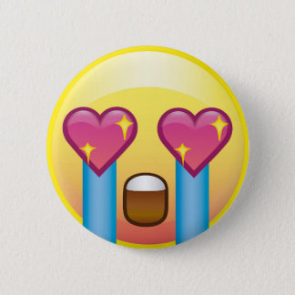 Fan Girl Excited Sparkle Heart Eyes Crying Emoji Pinback Button