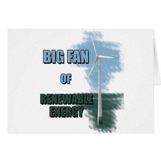 Fan grande de la energía renovable tarjeta de felicitación