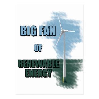 Fan grande de la energía renovable tarjeta postal