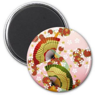 Fan japonesa 3 imán redondo 5 cm