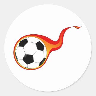 Fan llameante del balón de fútbol pegatinas redondas