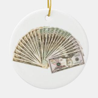 Fan of dollars ceramic ornament